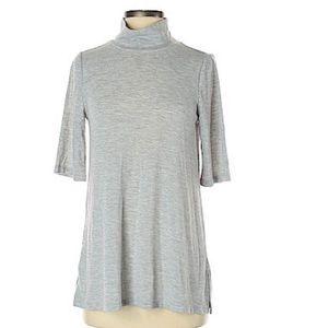 LOFT grey short sleeve turtleneck tunic